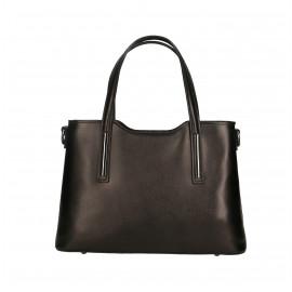 Kožená luxusní menší černá kabelka Luciana