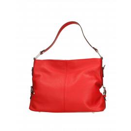 Kožená sytě červená kabelka přes rameno Daria