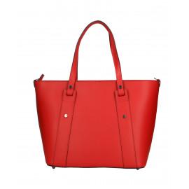 Kožená sytě červená kabelka přes rameno Emi