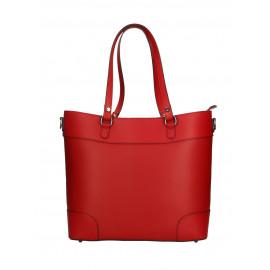 Kožená sytě červená kabelka do ruky Sonia