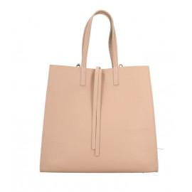 Kožená růžová shopper kabelka přes rameno Tamara