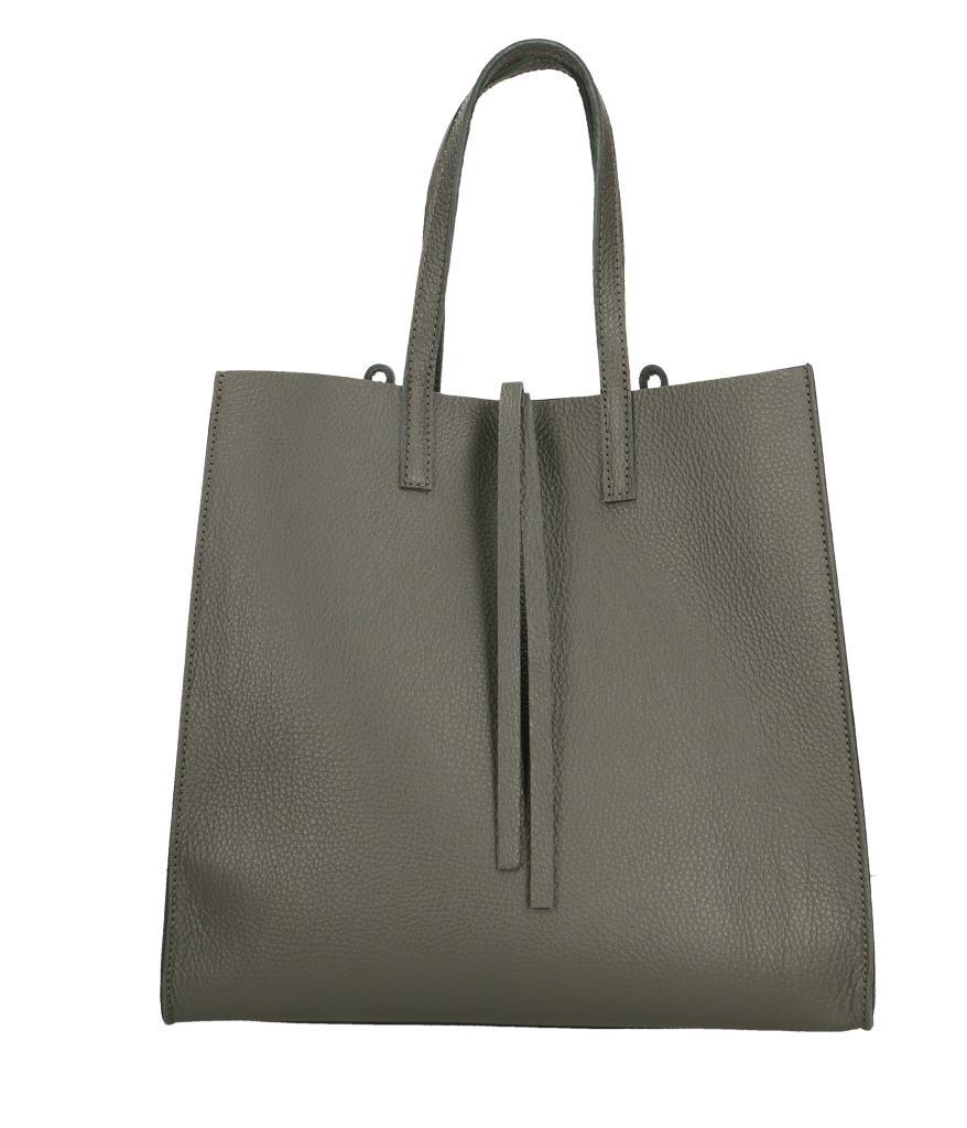 Kožená tmavě šedá shopper kabelka přes rameno Tamara