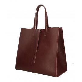 Kožená bordó shopper kabelka přes rameno Tamara