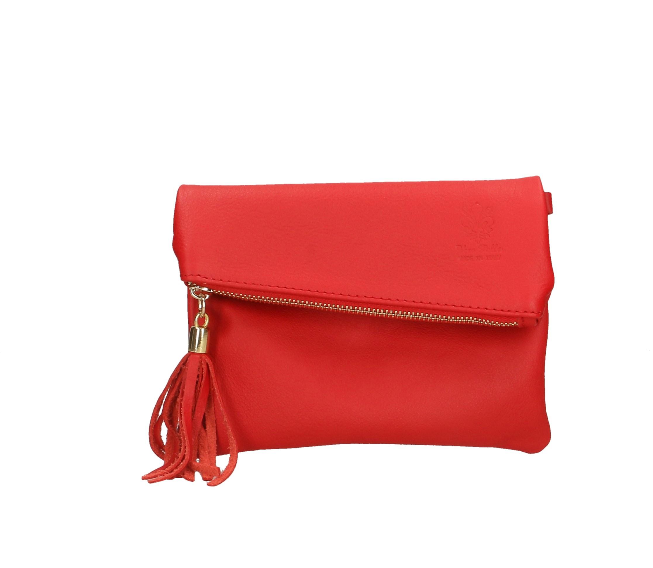 Kožená sytě červená crossbody kabelka na rameno Gizel