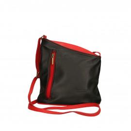 Kožená černá s červenou crossbody kabelka Deana Two