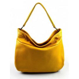 Kožená hořticově žlutá kabelka přes rameno devona