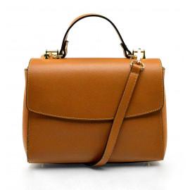 Kožená luxusní hnědá camel kufříková kabelka joane
