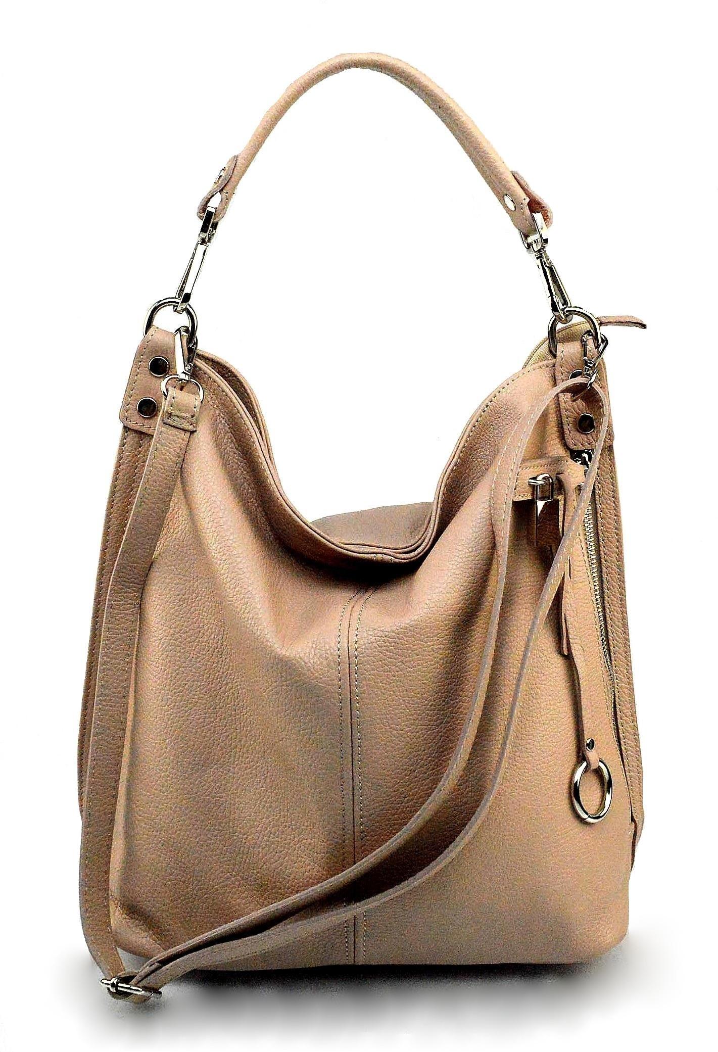Kožená luxusní růžová kabelka přes rameno denice
