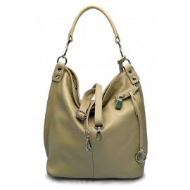 Kožená luxusní béžová taupe kabelka přes rameno Denice
