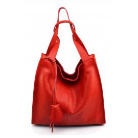 Kožená luxusní  sytě červená kabelka přes rameno Darci Little