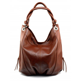 Kožená tmavě hnědá coffee velká taška na rameno adele
