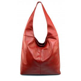 Kožená červená bordó taška na rameno feris