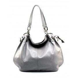 Jedinečná luxusní světle šedá kožená kabelka přes rameno Lorreine
