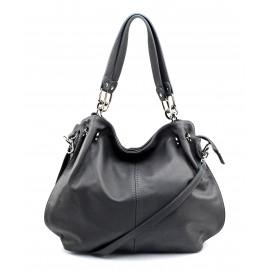 Kožená luxusní tmavě šedá kabelka do ruky i přes rameno Lorreine