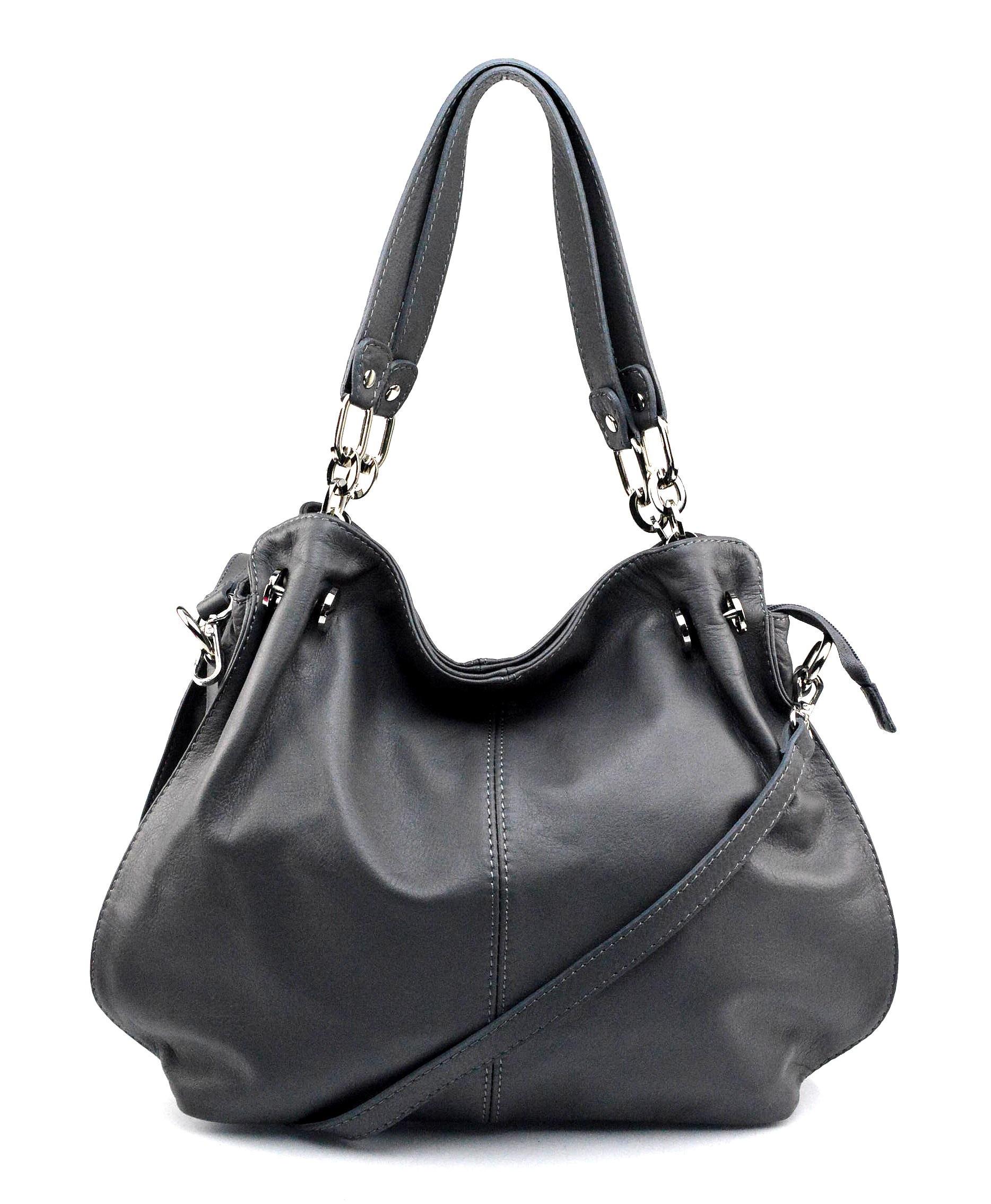 Kožená luxusní světle šedá kabelka do ruky i přes rameno Lorreine