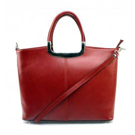 Menší stylová tmavě červená kožená kabelka do ruky Amelia