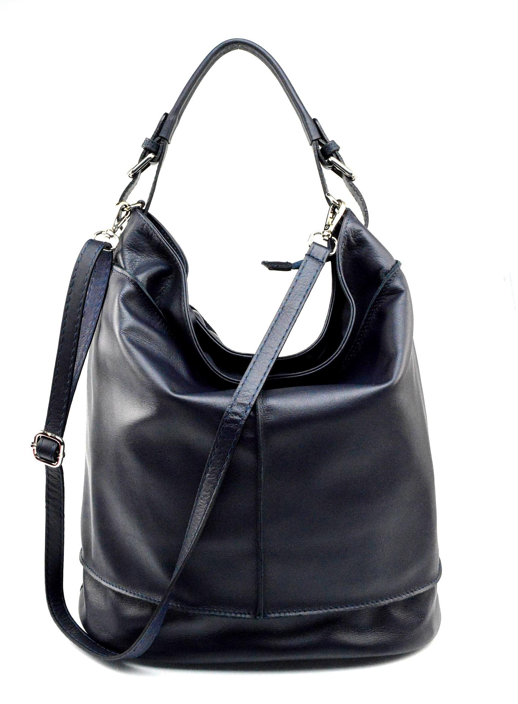 Kožená tmavě modrá velká taška na rameno adele two