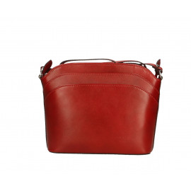 Kožená menší tmavě červená crossbody kabelka na rameno Natali