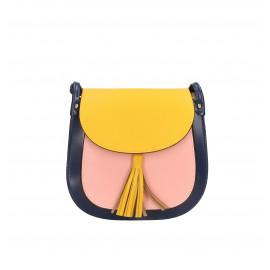 Kožená větší barevná se žlutou crossbody kabelka Bella Summer