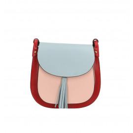 Kožená větší barevná s červenou crossbody kabelka Bella Summer