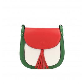 Kožená větší barevná se zelenou crossbody kabelka Bella Summer