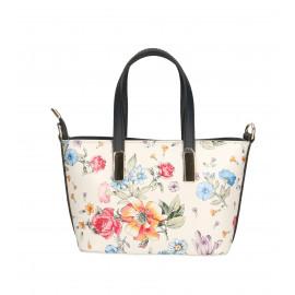 Kožená luxusní bílá kabelka s motivem květin Floralis