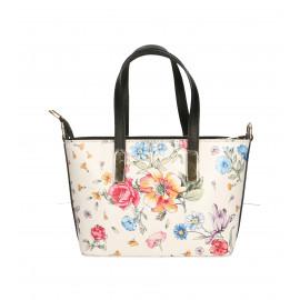 Kožená luxusní bílá kabelka s modrou a s motivem květin Floralis