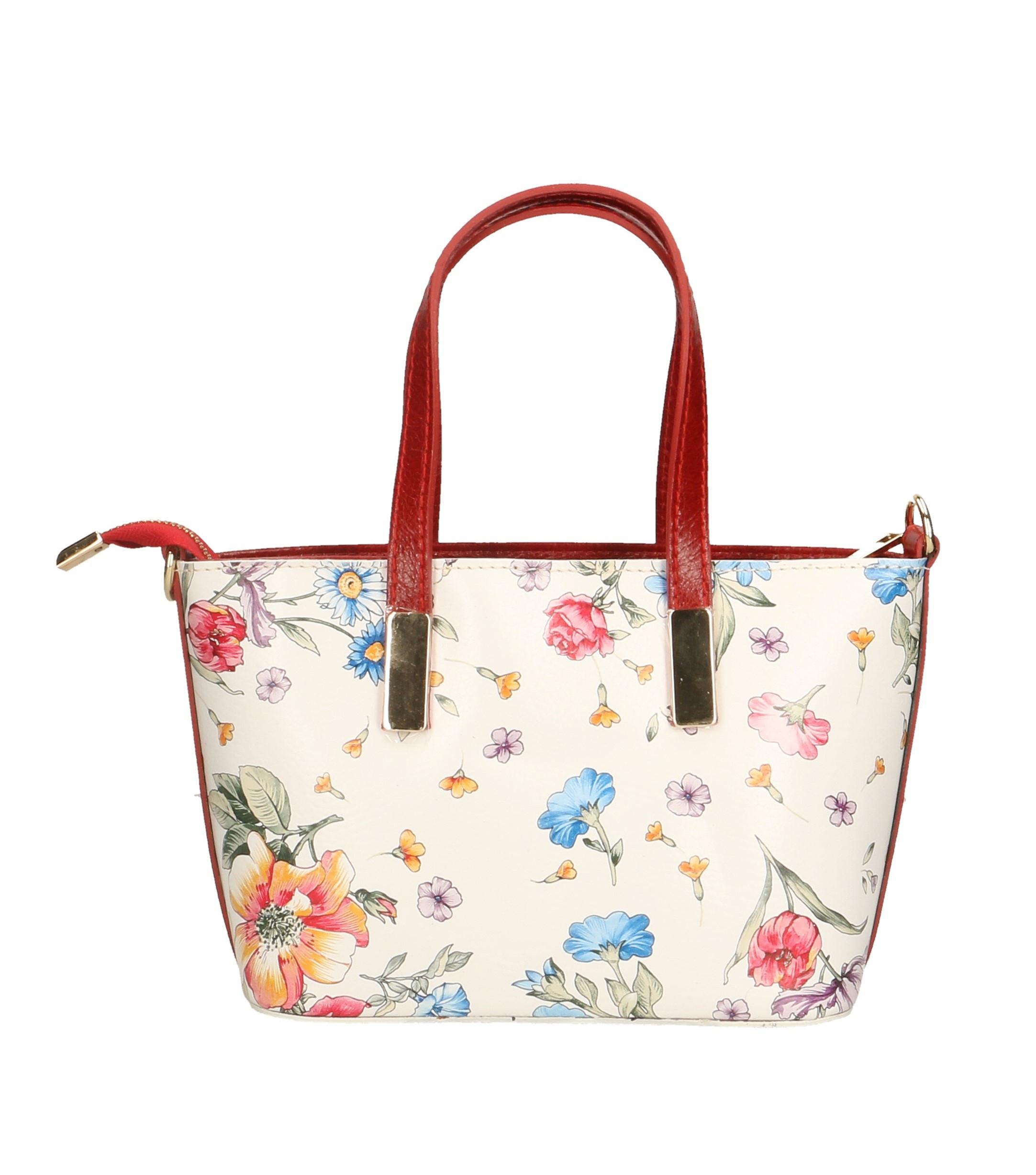 Kožená luxusní bílá kabelka s černou a s motivem květin Floralis