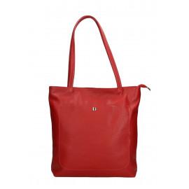 Kožená červená shopper taška na rameno Stela