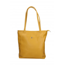 Kožená žlutá shopper taška na rameno Stela