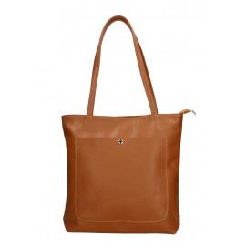 Kožená hnědá camel shopper taška na rameno Stela