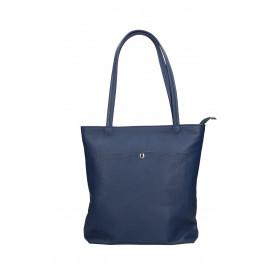 Kožená modrá shopper taška na rameno Stela