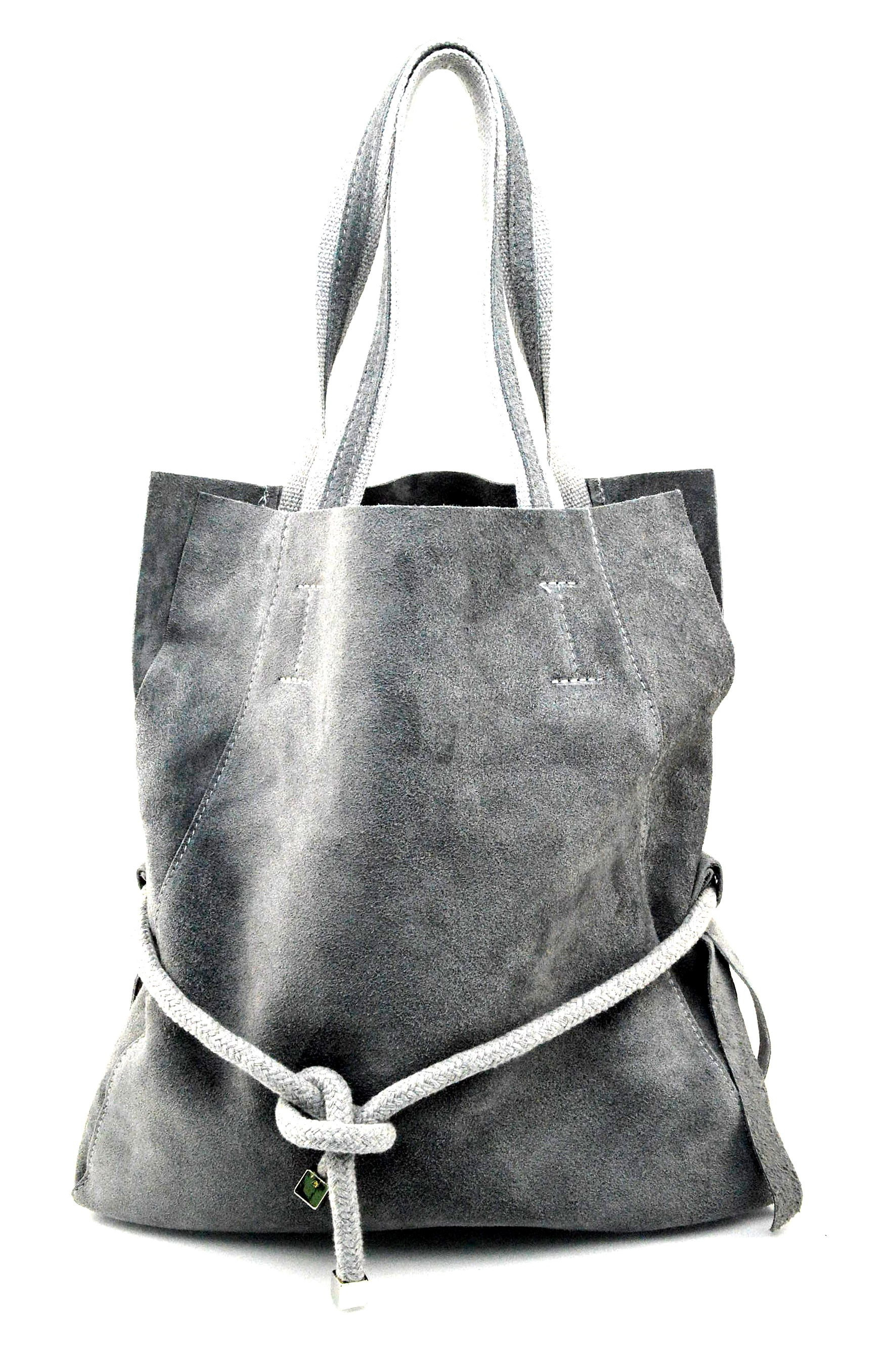 Kožená světle šedá velká shopper taška na rameno claudia