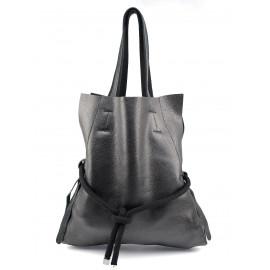 Kožená černá velká shopper taška na rameno claudia two