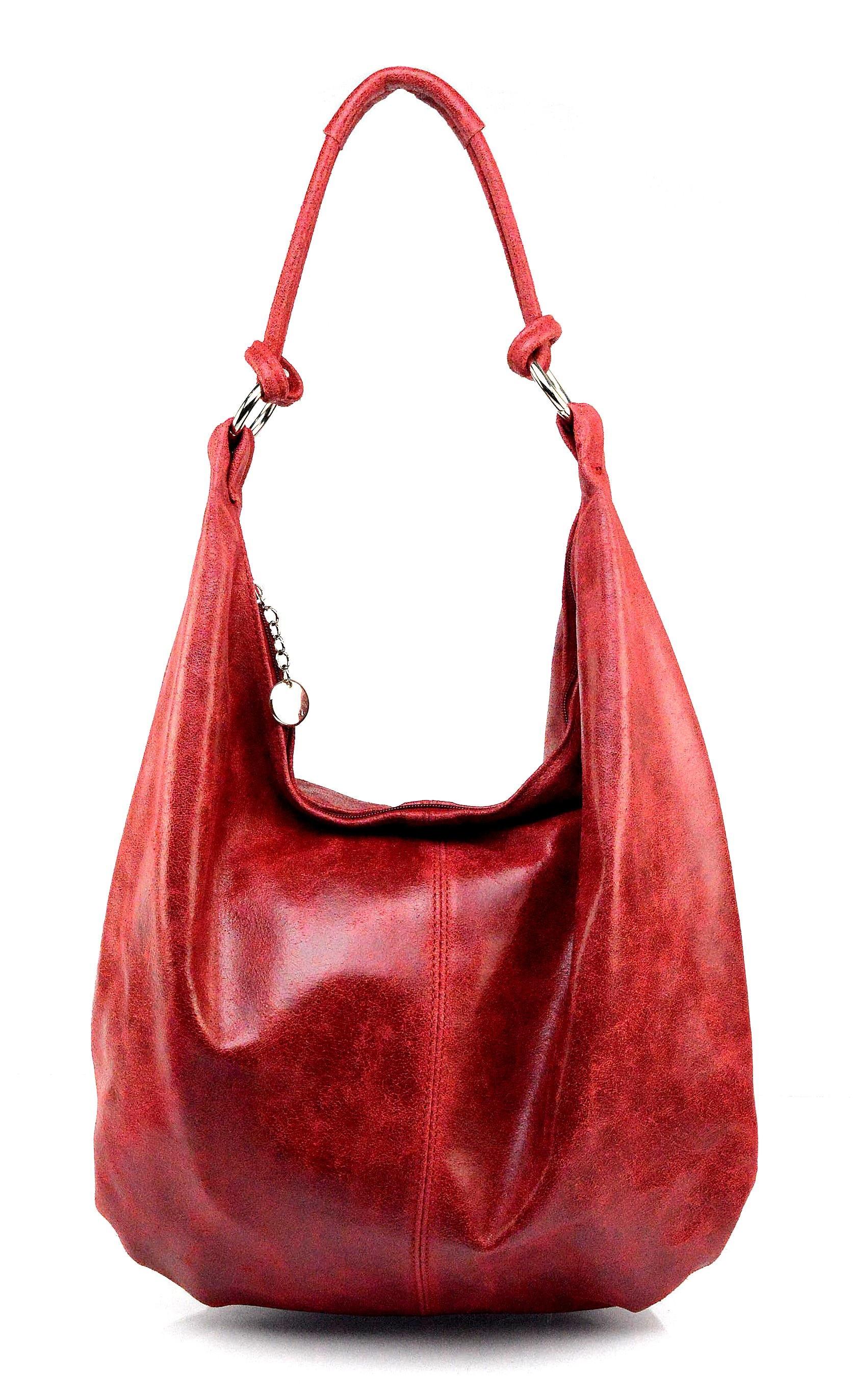 Kožená červená taška na rameno relic