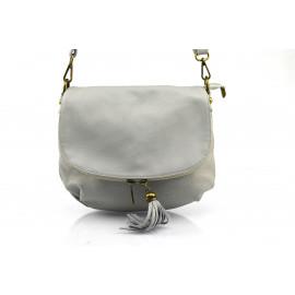 Kožená větší světle šedá crossbody kabelka na rameno tori
