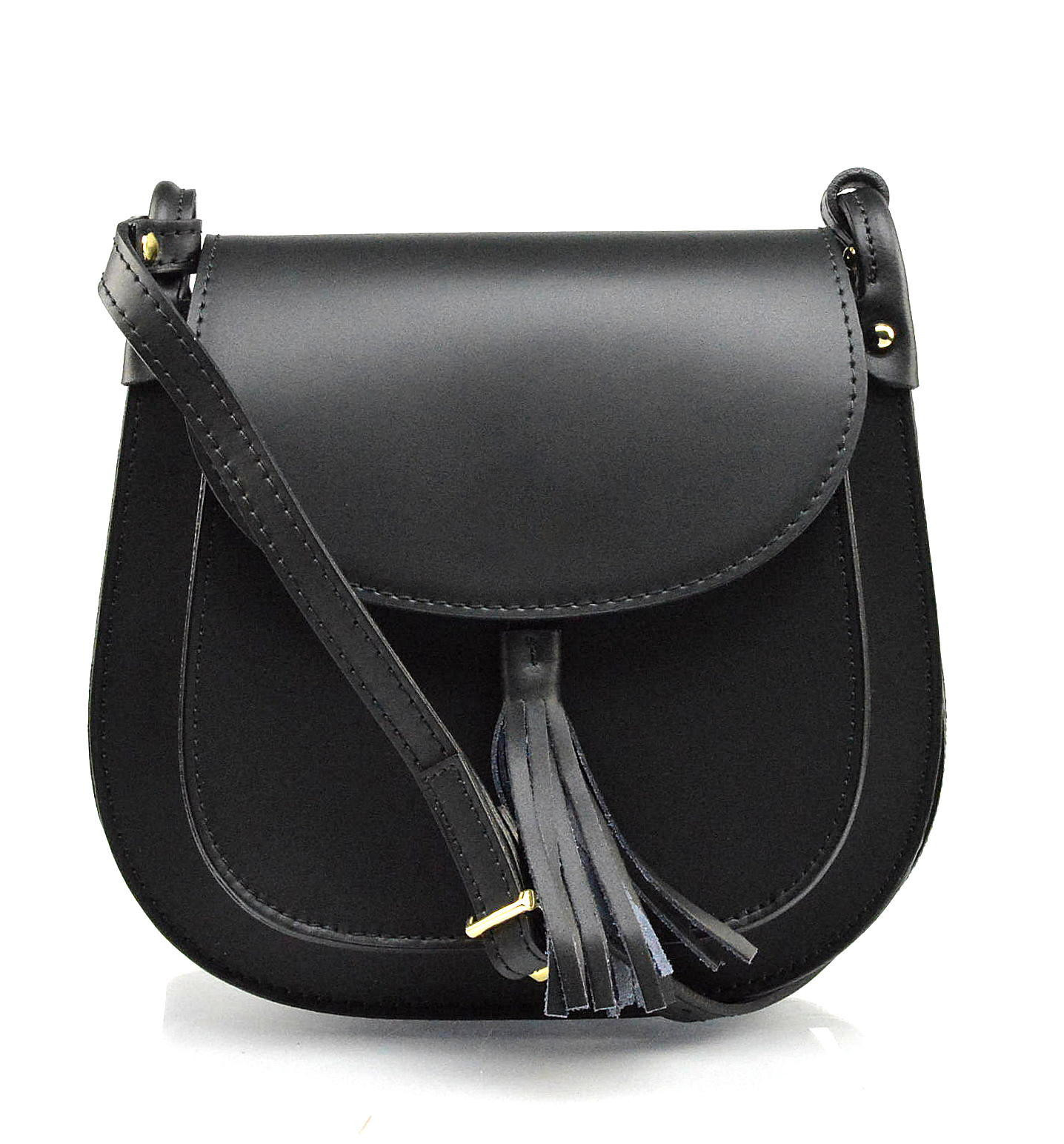 Kožená černá crossbody kabelka na rameno Bella