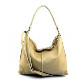 Kožená béžová beige taška na rameno clarita