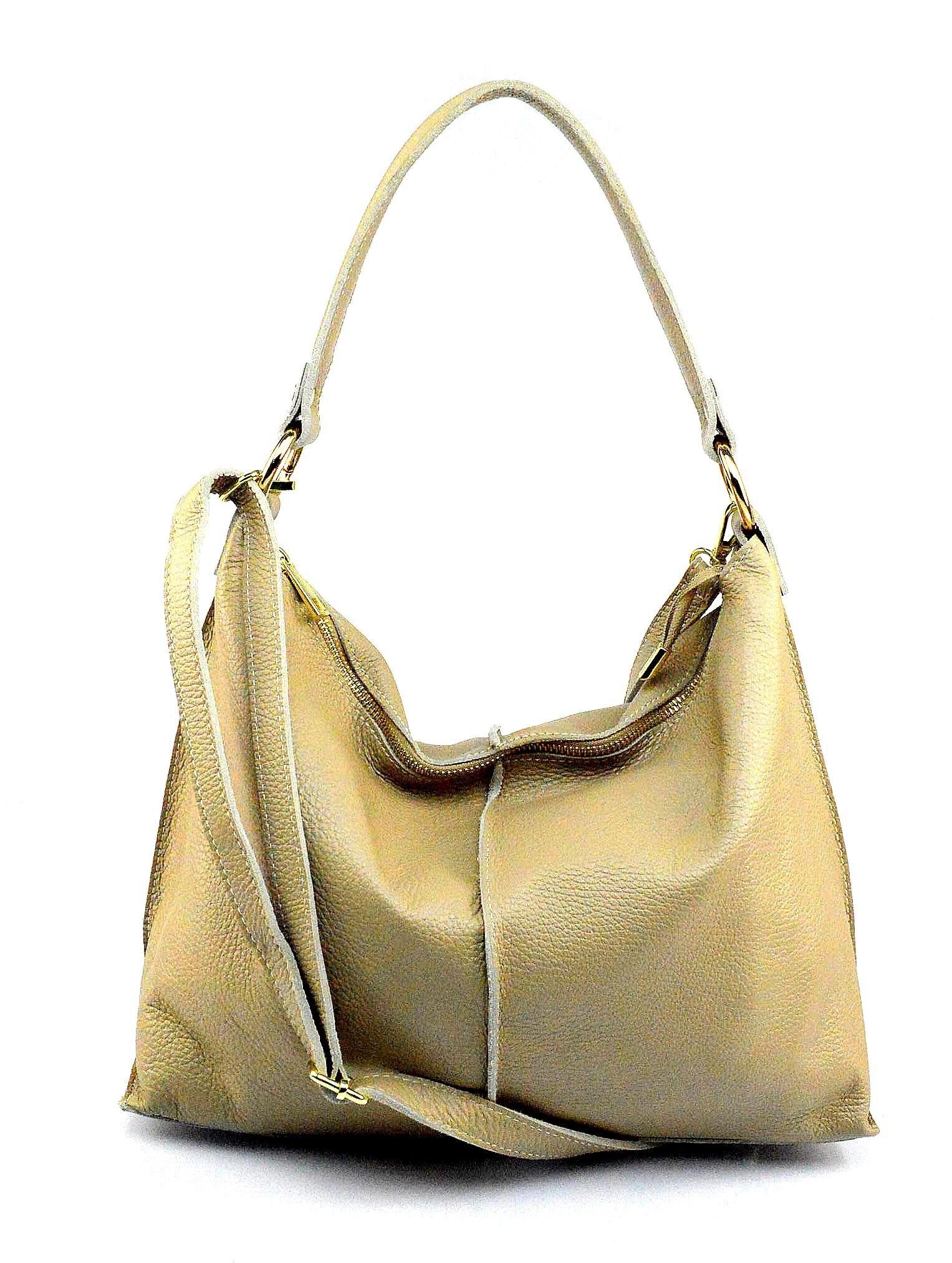 Kožená velká hnědá camel taška na rameno clarita