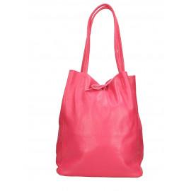 Kožená korálová růžová shopper taška na rameno Melani Two