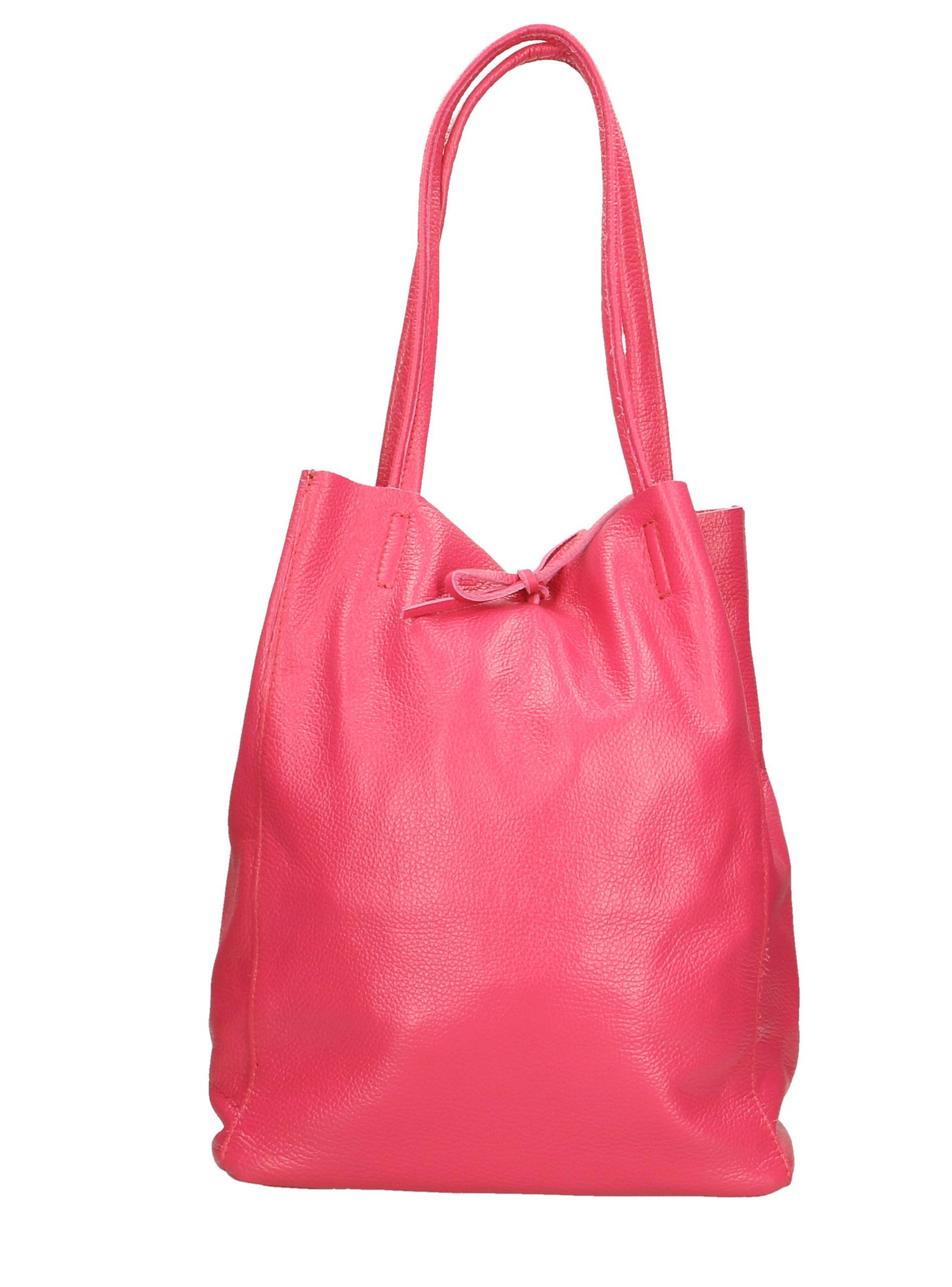 Kožená růžová lesklá shopper taška na rameno Melani Two