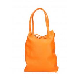 Kožená sytě oranžová shopper taška na rameno Melani Two Summer