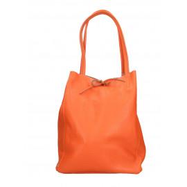 Kožená tmavě oranžová shopper taška na rameno Melani Two Summer