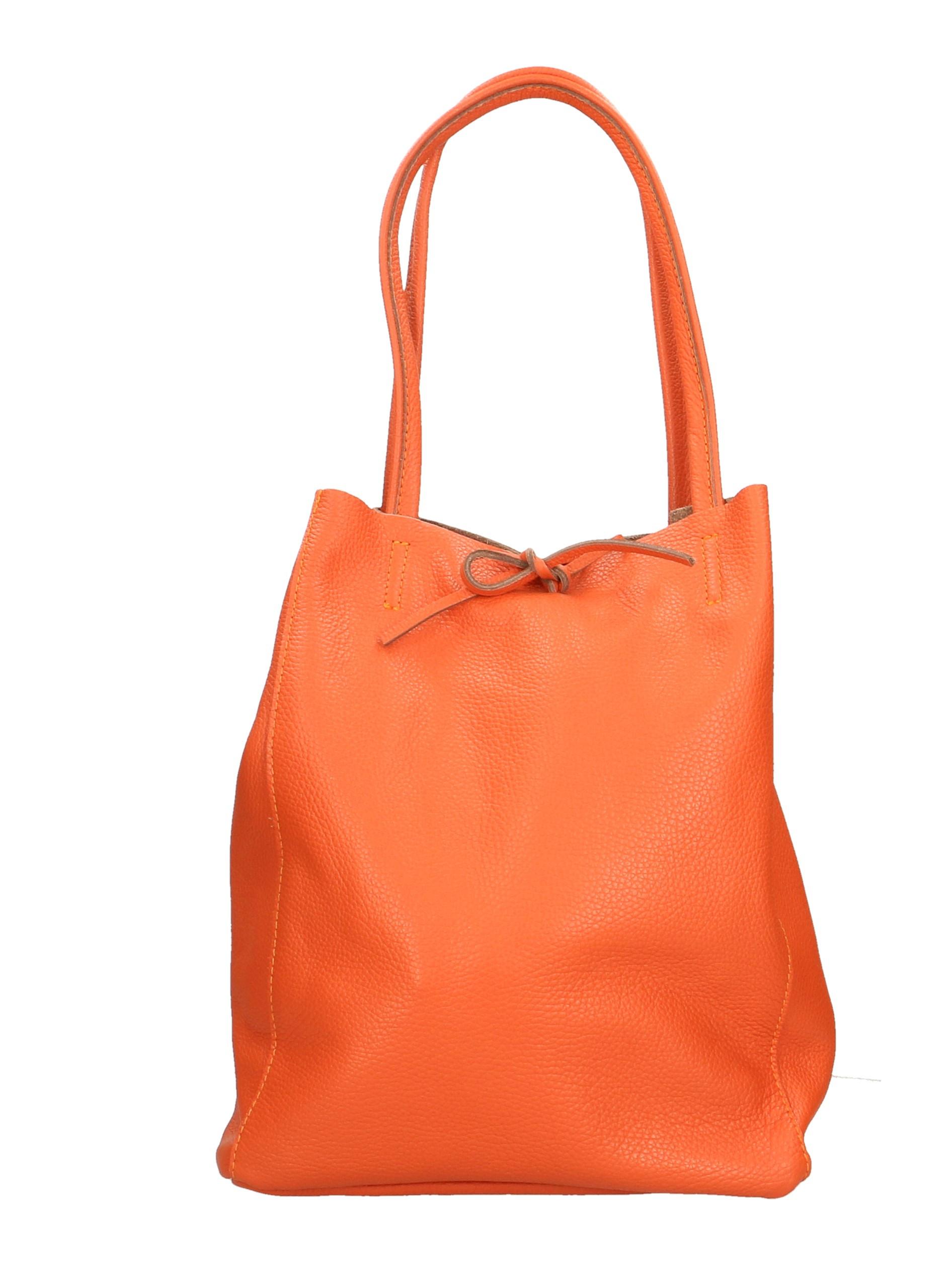 Kožená sytě oranžová shopper taška na rameno Melani Two