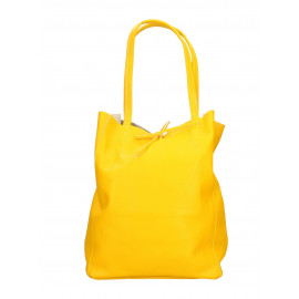 Kožená sytě žlutá shopper taška na rameno Melani Two Summer