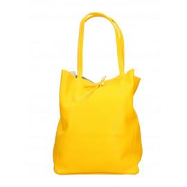 Kožená sytě žlutá shopper taška na rameno Melani Two