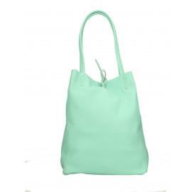 Kožená světle modrá tyrkysová shopper taška na rameno Melani Two Summer