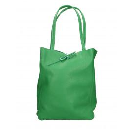 Kožená sytě zelená shopper taška na rameno Melani Two Summer