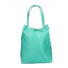 Kožená tyrkysová shopper taška na rameno Melani Two Summer
