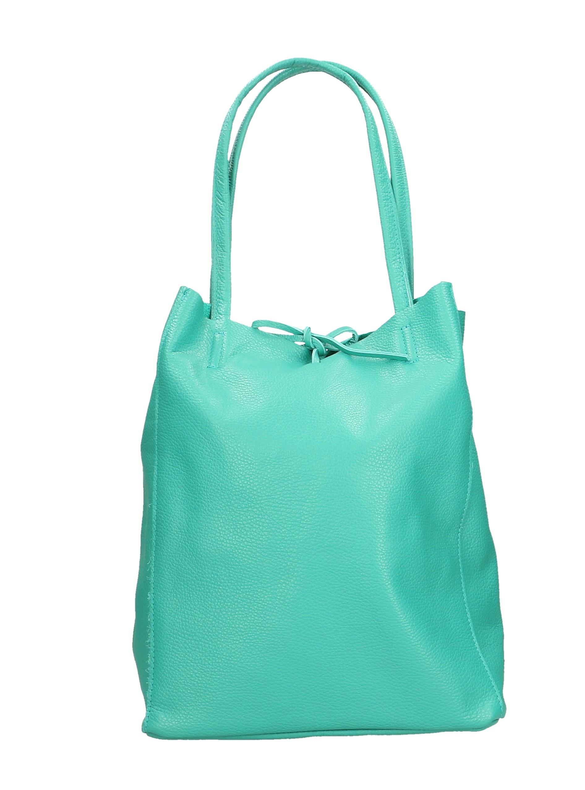 Kožená sytě zelená shopper taška na rameno Melani Two